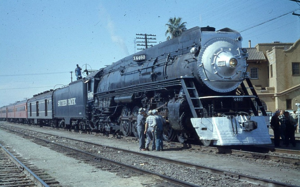Southern Pacific 4460 waits near the SP's Employee Clubhouse on October 12, 1958