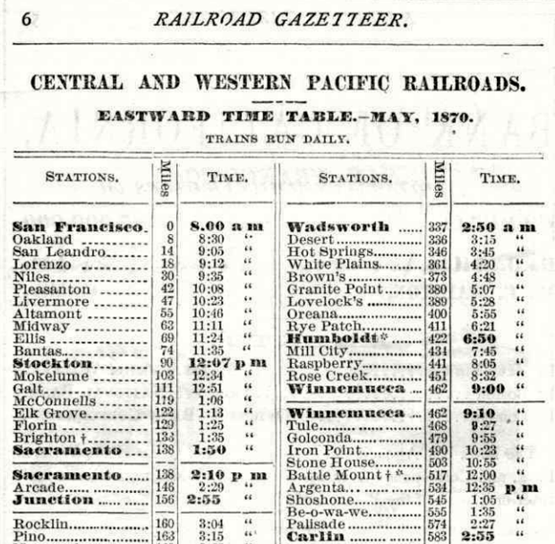 Central Pacific 1870 Timetable (Image)