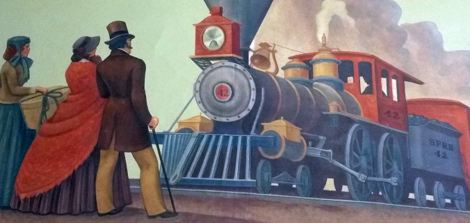 """Edith Hamlin's """"Days Of First Railroad"""" (Detail Image)"""