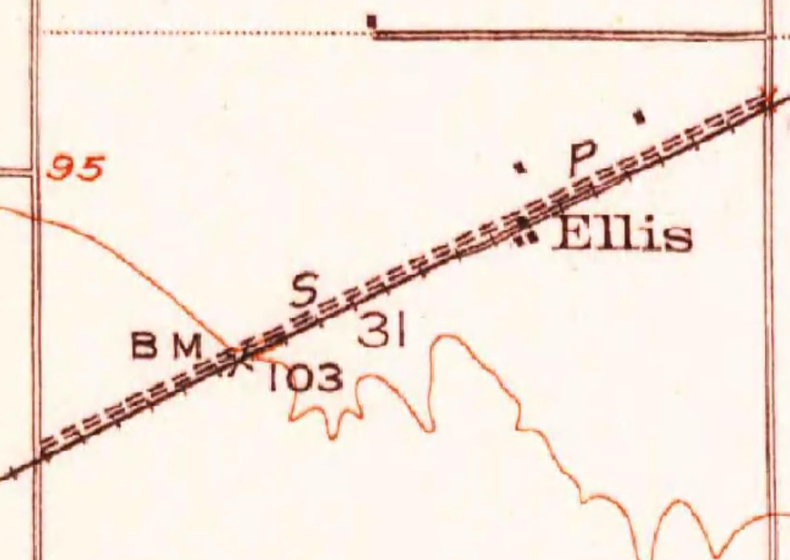 Ellis Town Area (USGS Map Image, 1951)
