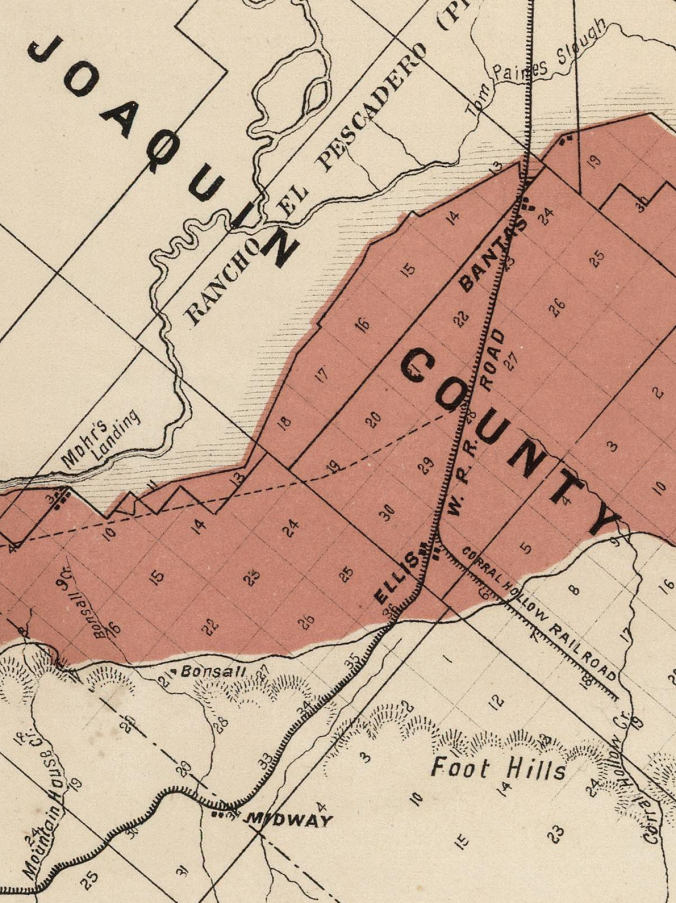 Tulare Township West Side Irrigation (1877 Map)