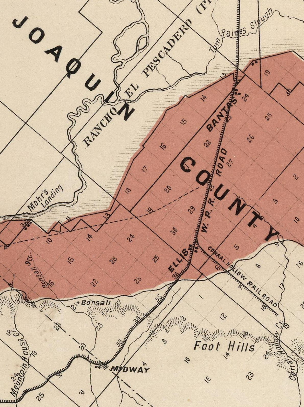 1877 West Side Irrigation Co. Map of Tulare Township (Image)