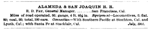 Alameda and San Joaquin Railroad Info (Image)