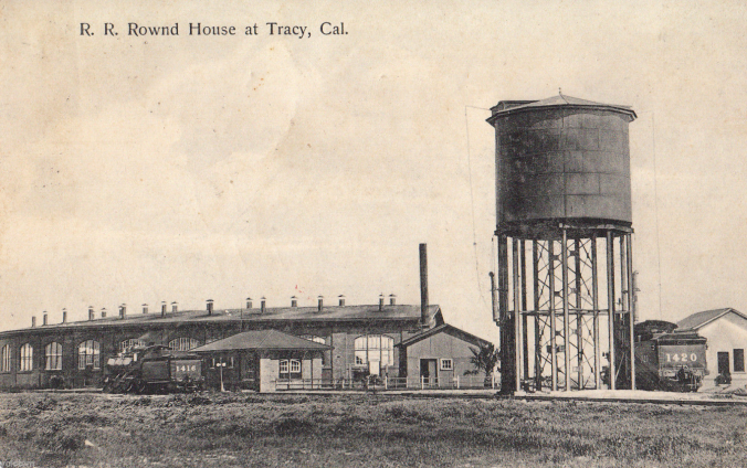 Southern Pacific Railroad Roundhouse at Tracy, Calif. (Circa 1904 Photo)