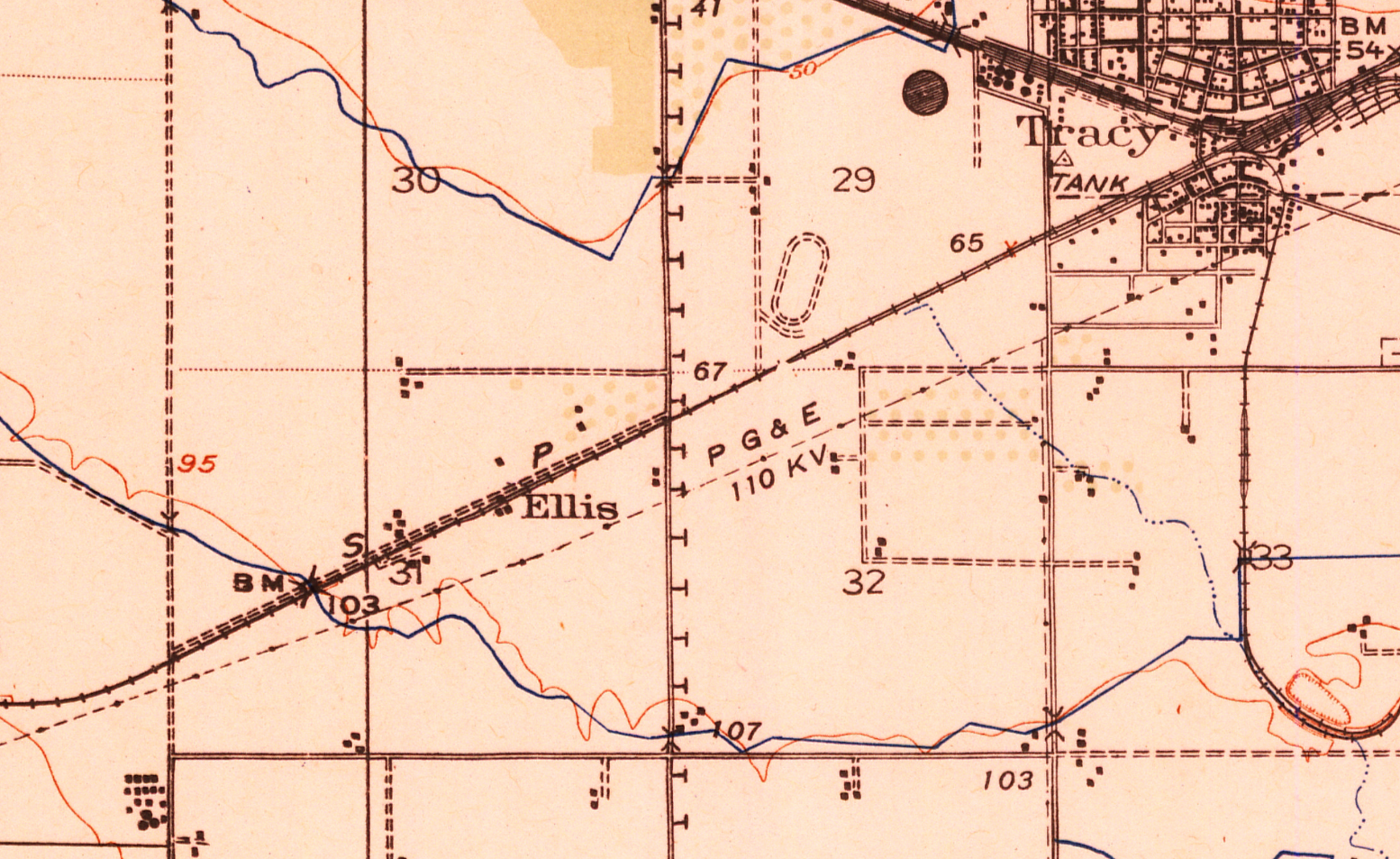 Ellis, California (1942 USGS Map)