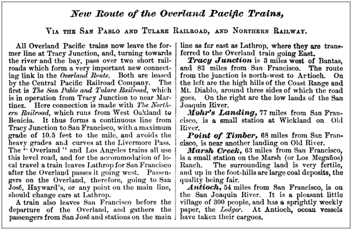 1878 Tracy Junction News Article (Image)
