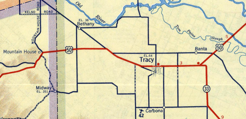 A 1951 road map showing Tracy and Bethany, Calif. (Image)