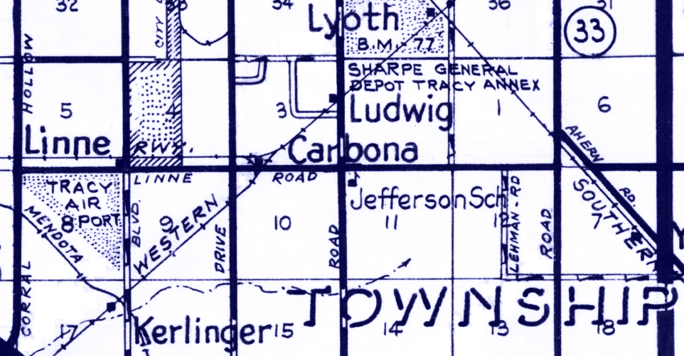 Carbona (Tracy), California on 1980 Metsker Map (Image)